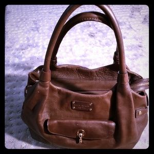 Kate Spade large chocolate brown used leather bag